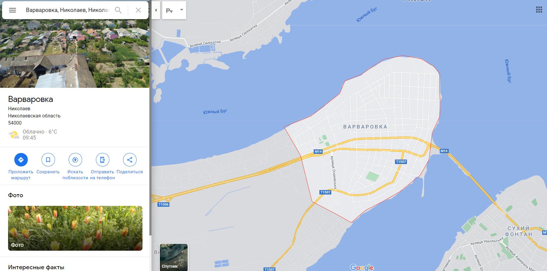 Варварівка на мапі Миколаївщини
