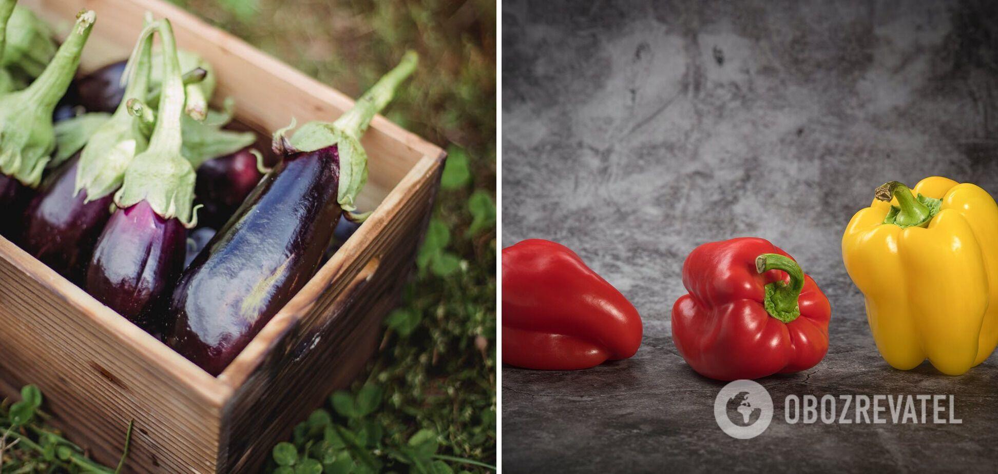 Овочі, які можна поєднувати на шампурі – баклажани та перець
