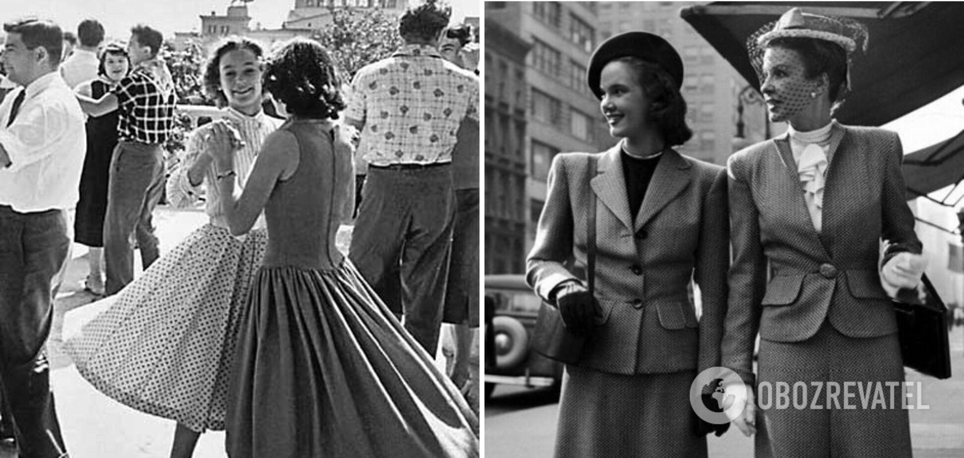 Платья в горошек, маленькие шляпы и жакеты с подплечниками были на пике популярности в СССР в 40-х годах