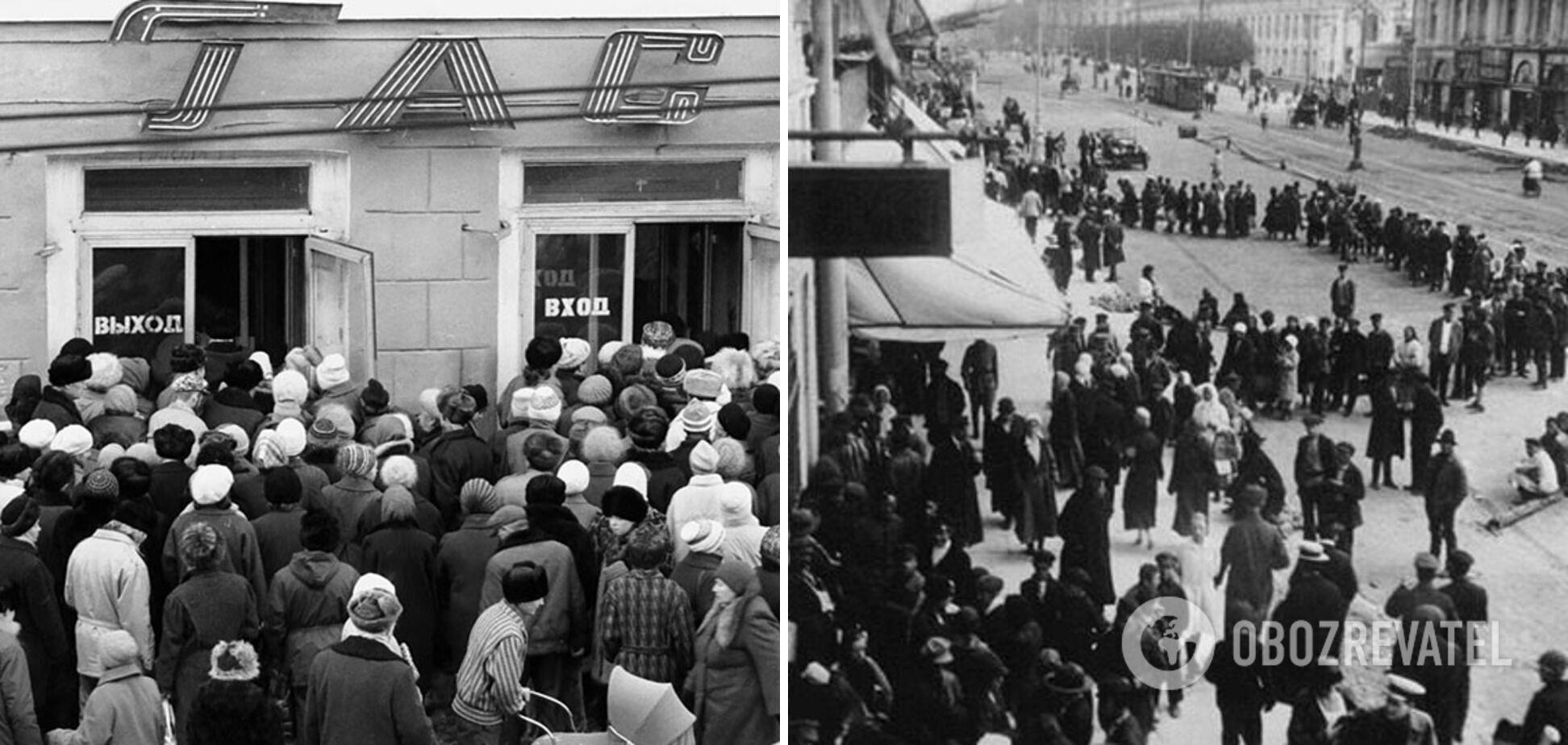 Очереди в СССР иногда достигали нескольких километров.