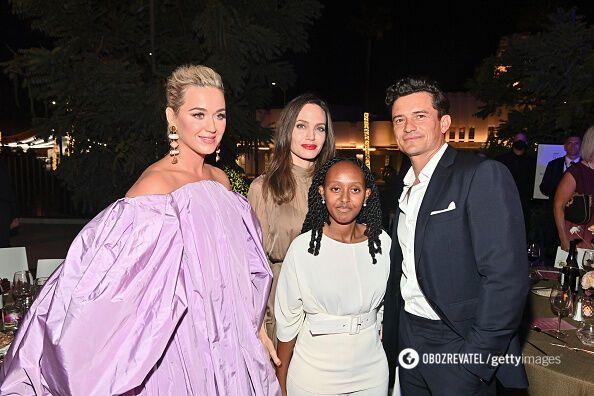 Джолі з Кеті Перрі та Орландо Блумом.