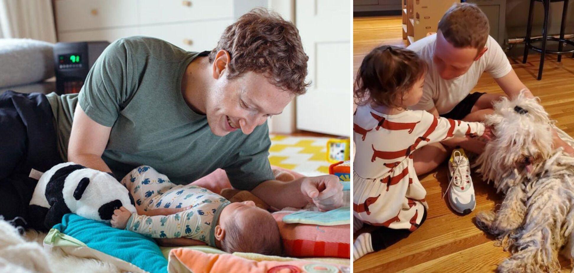 Марк Цукерберг с детьми.