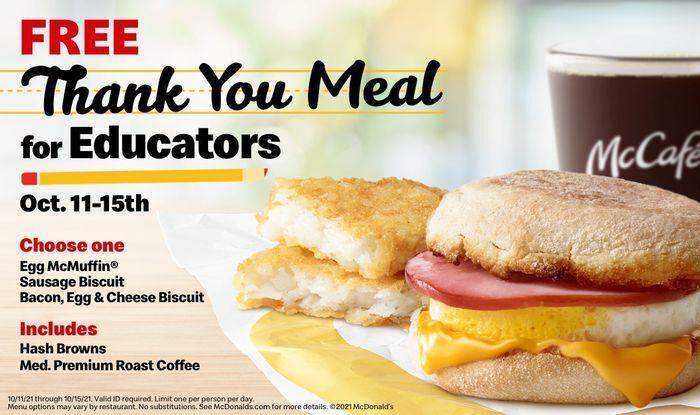 В McDonald's решили поблагодарить персоналы школ бесплатными завтраками