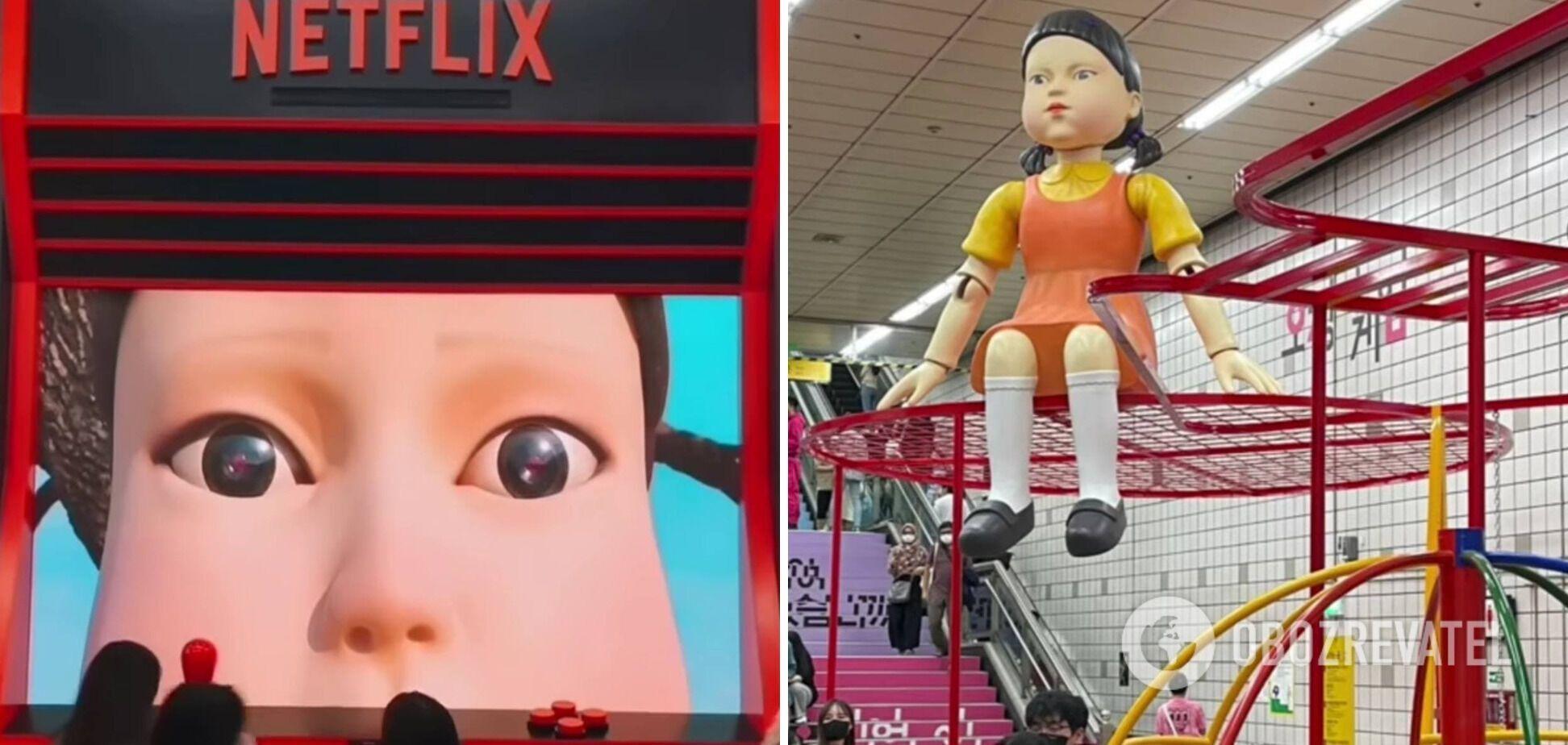 """Кукла-убийца из сериала """"Игра в кальмара""""."""