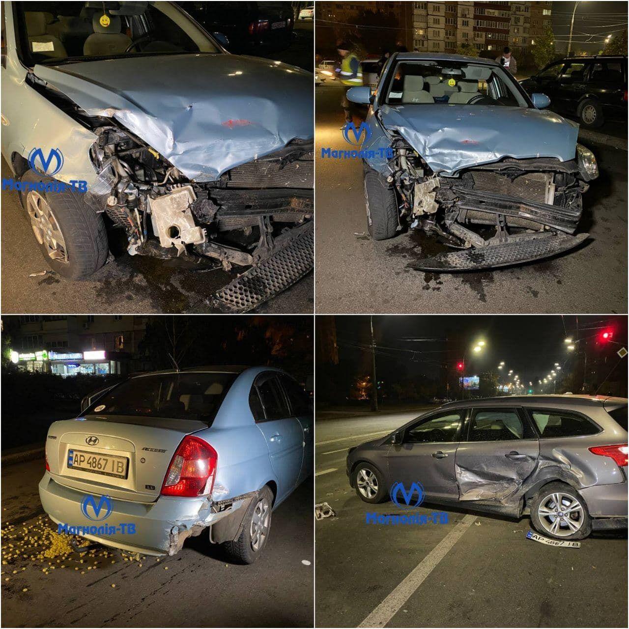 Виновник аварии протаранил три автомобиля.