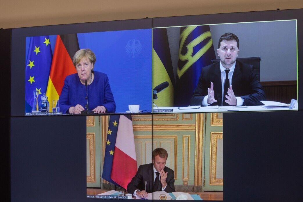 Переговоры между Зеленским, Меркель и Макроном проходили в видеоформате.