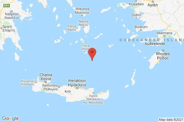 Землетрясение около Крита