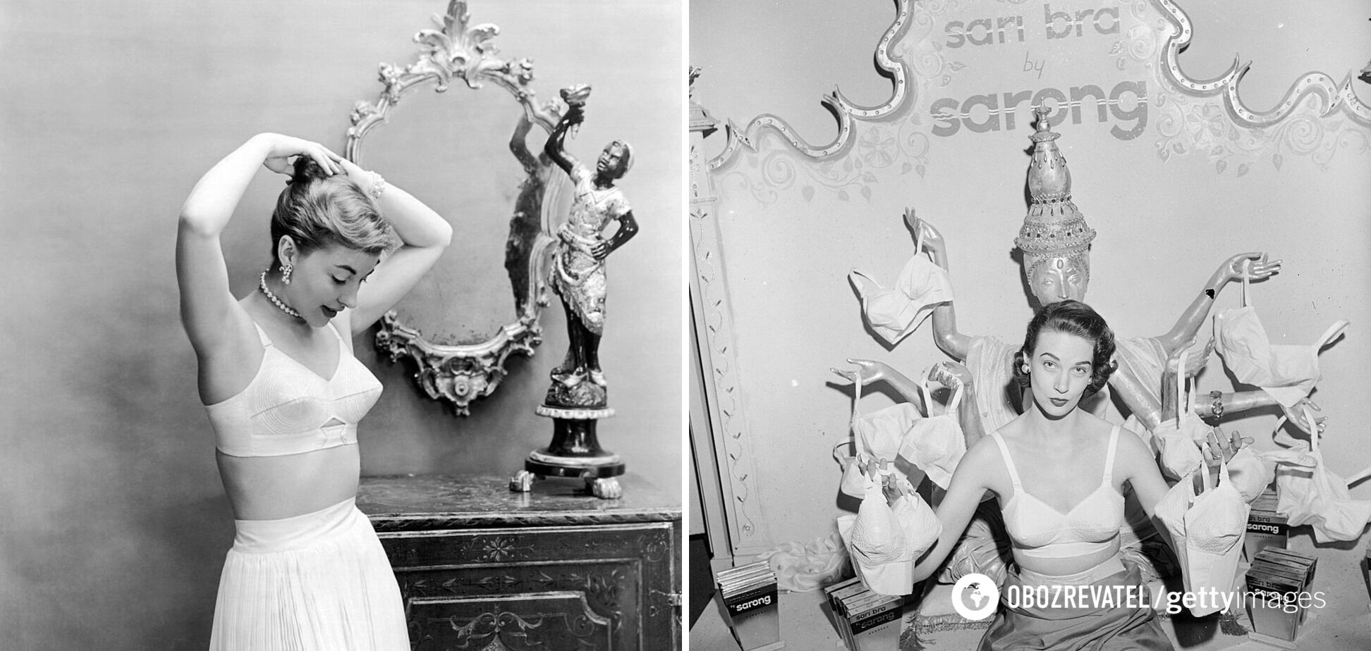"""Бюстгальтеры от брендов """"Maidenform Chansonette"""" и """"Sarong"""", 1949."""
