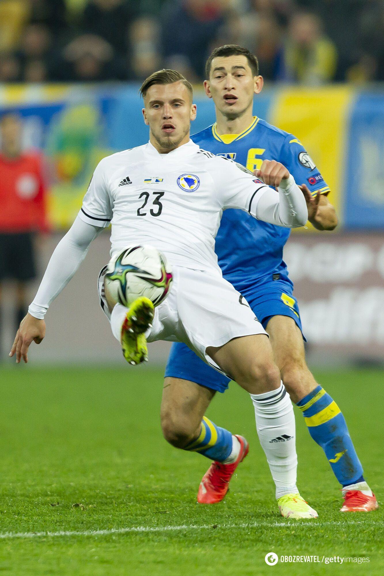 Полузащитник Тарас Степаненко в сборной Украины.