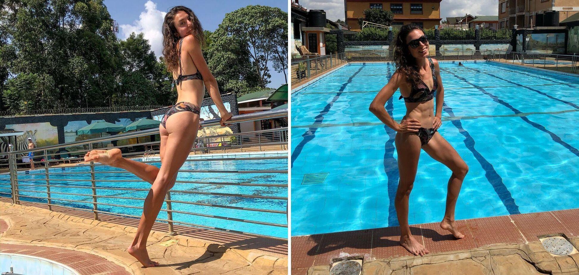 Ольга Ляховая возле бассейна