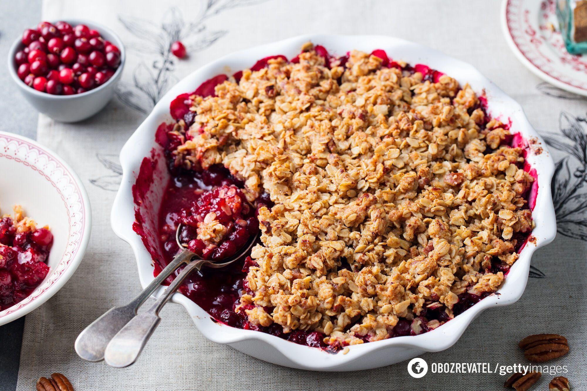 Вівсяний пиріг з ягодами