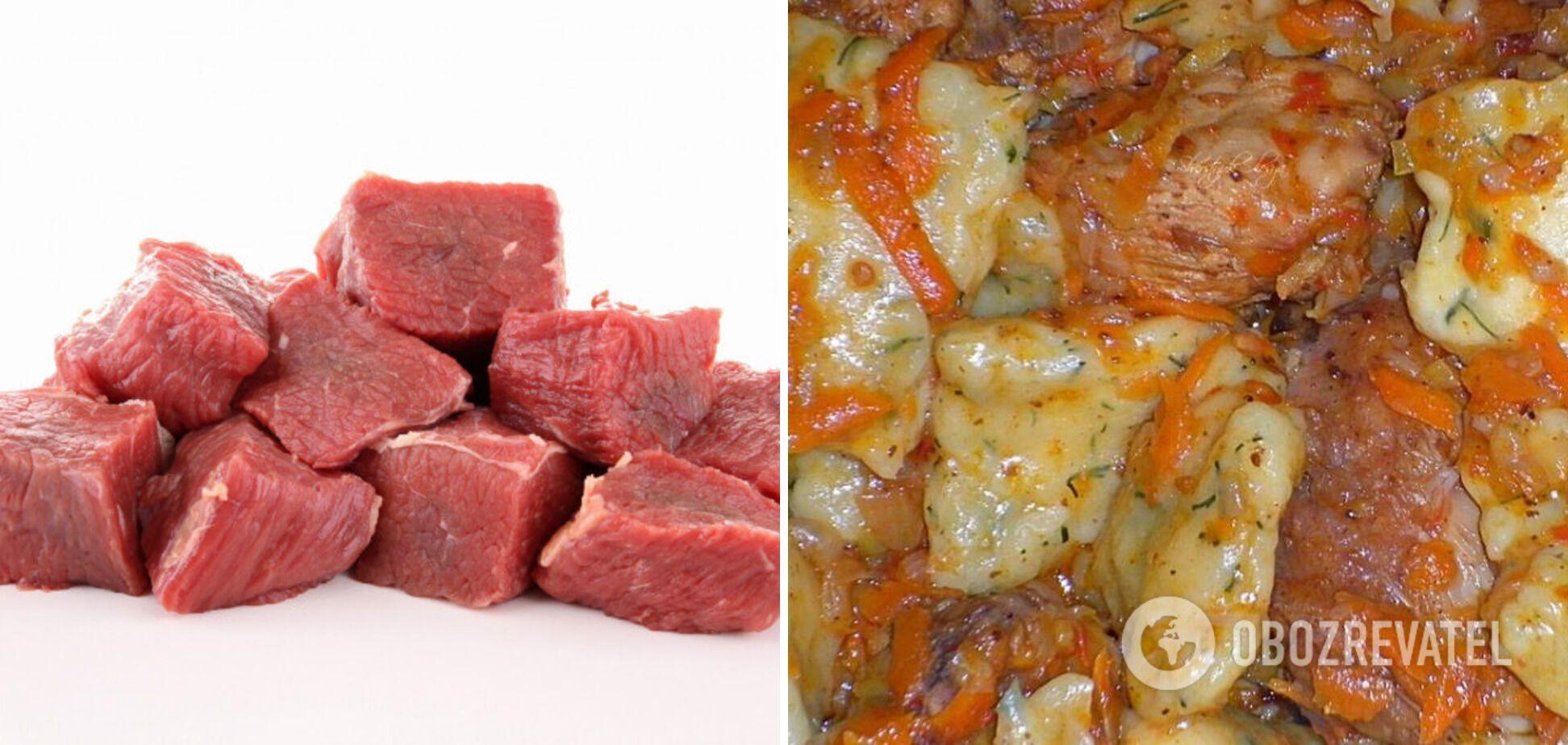М'ясо в бульйоні з цибулею та морквою
