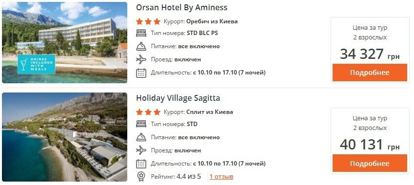 Ціни на відпочинок у тризіркових готелях Хорватії.