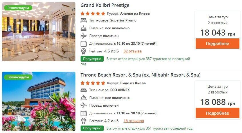 Ціни на відпочинок у п'ятизіркових готелях Туреччини.
