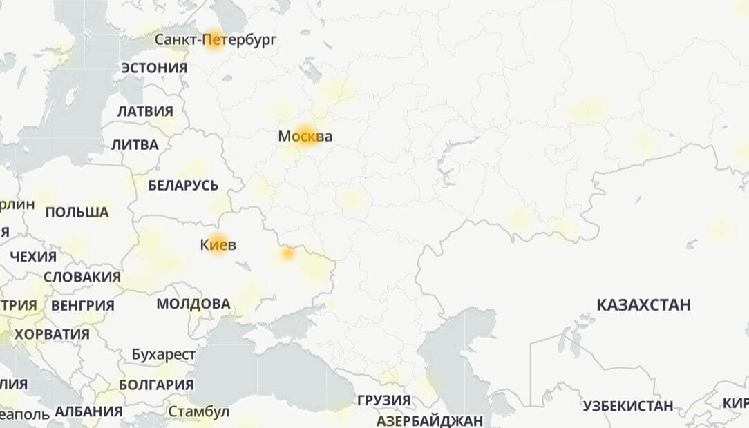 Карта сбоев в Telegram