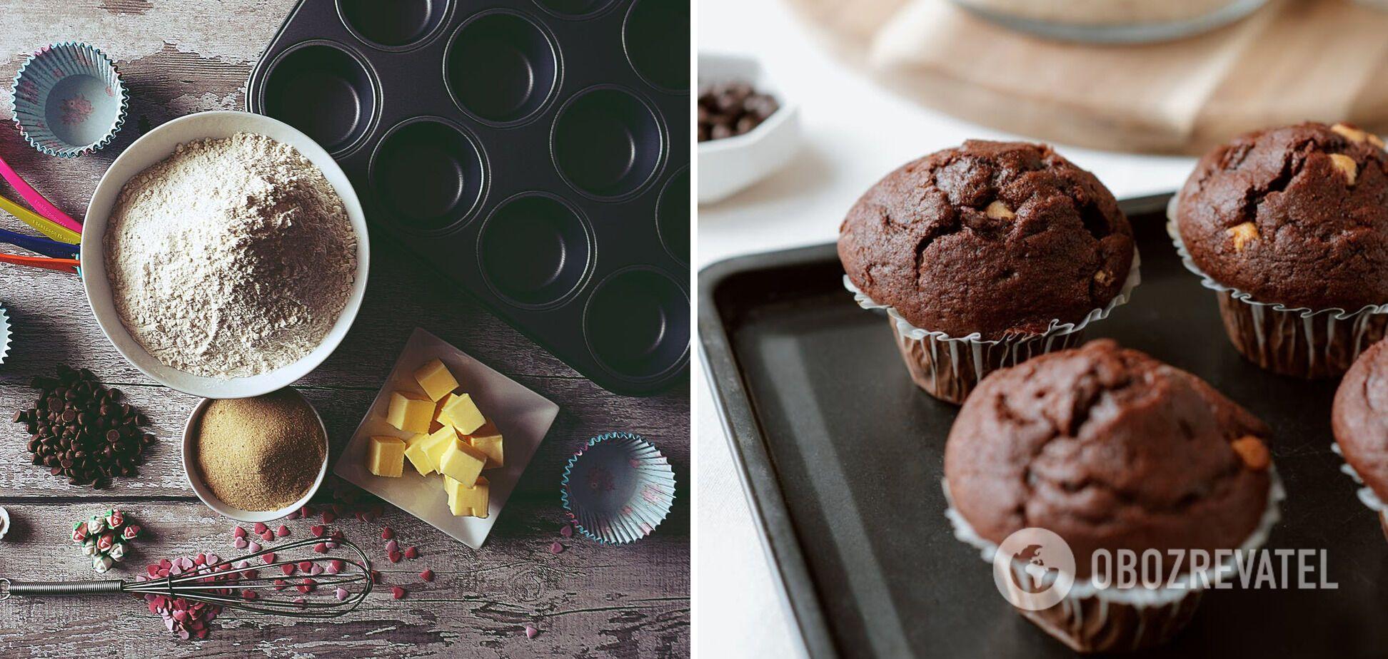 Шоколадні мафіни на кефірі