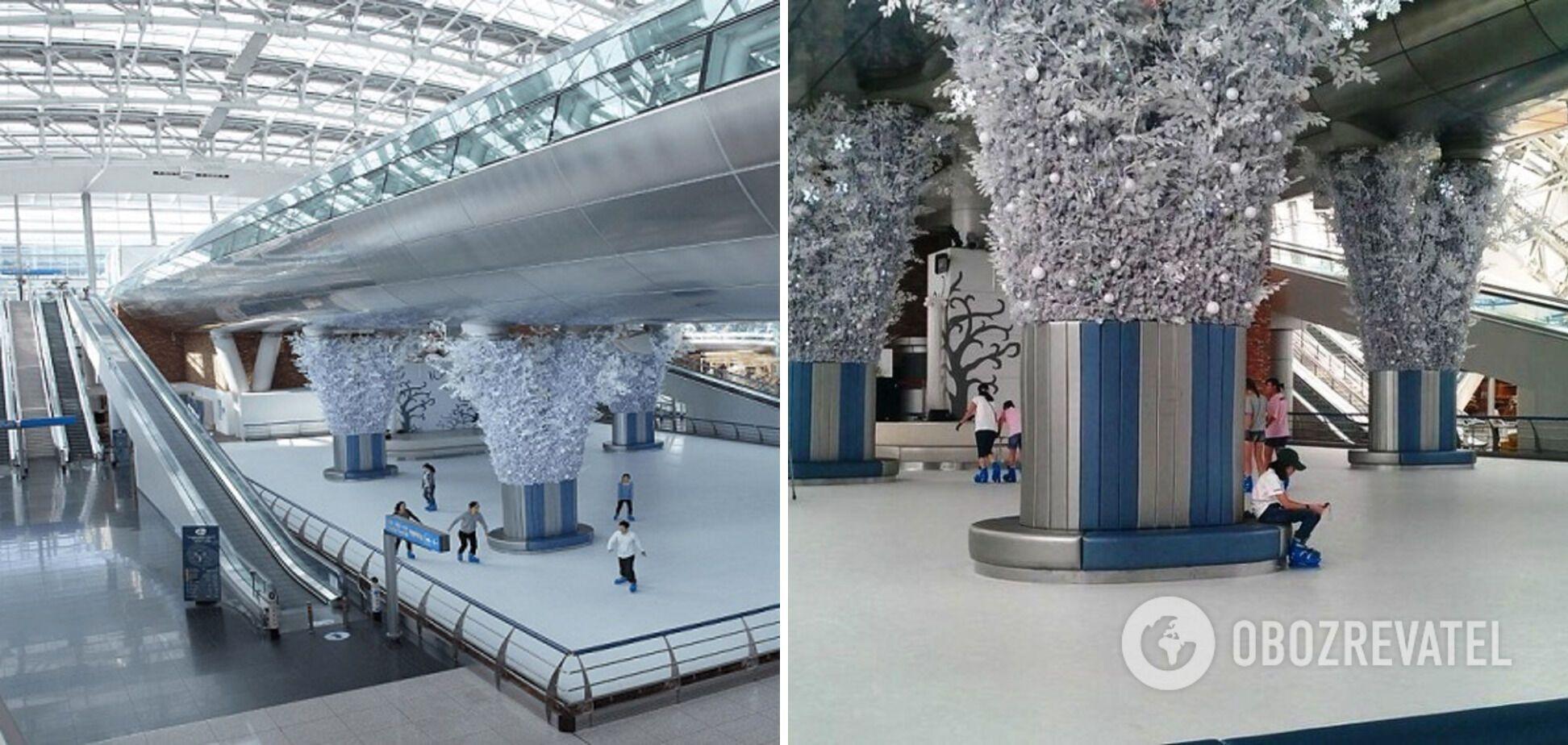 В аэропорту Инчхон в Сеуле есть каток в зале ожидания.