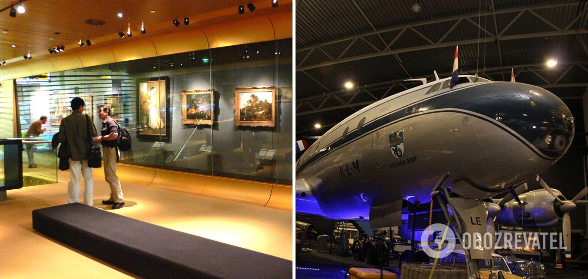 В аэропорту Амстердама есть арт-галерея и музей авиации.