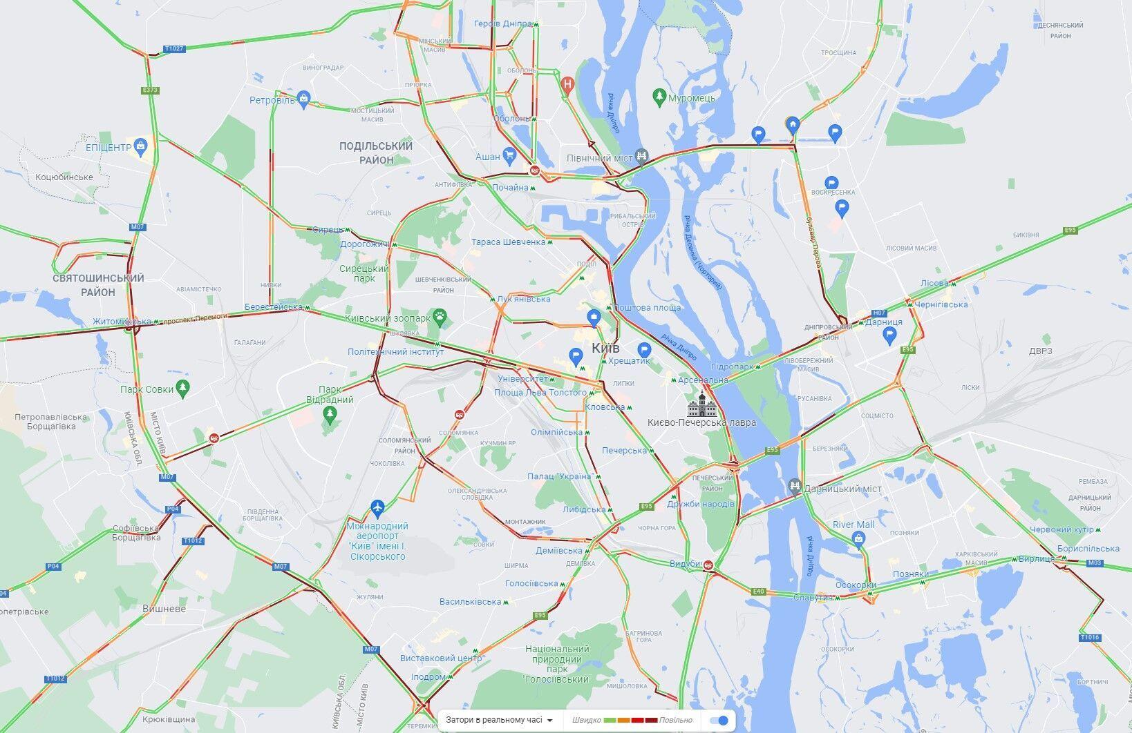 Утренние пробки в Киеве.