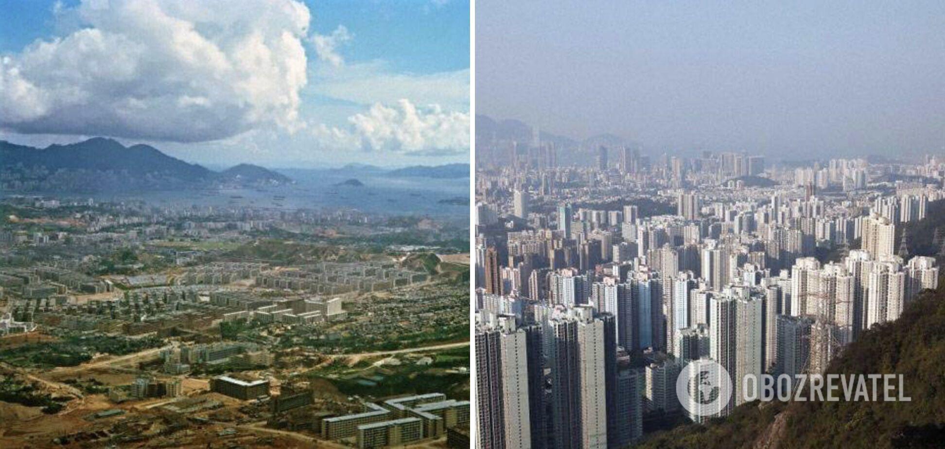 Полуостров Коулун в Гонконге в 1964 году и сейчас.