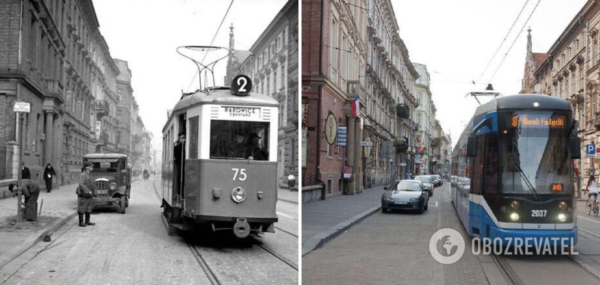 Город Краков 50 лет назад и сейчас.