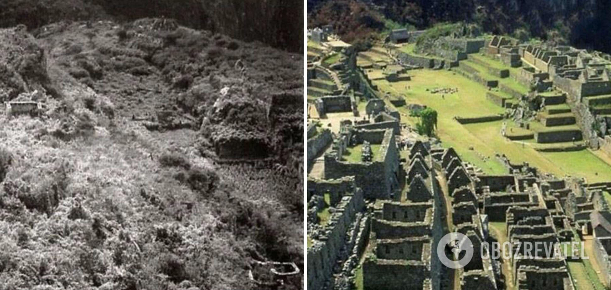 Мачу-Пикчу в 1915 году и сейчас.