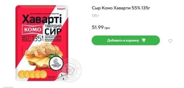 Вартість українського сиру