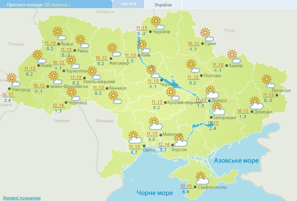 Погода 8 октября в Украине