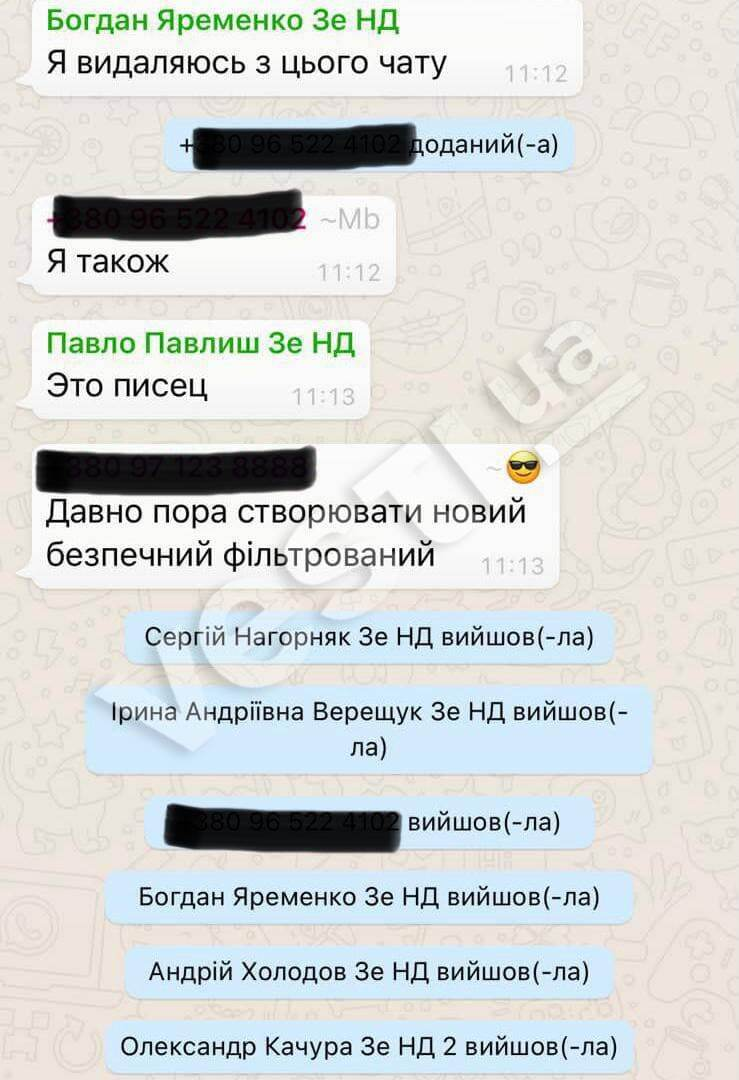 """Переписка из чата """"Слуги народа"""""""