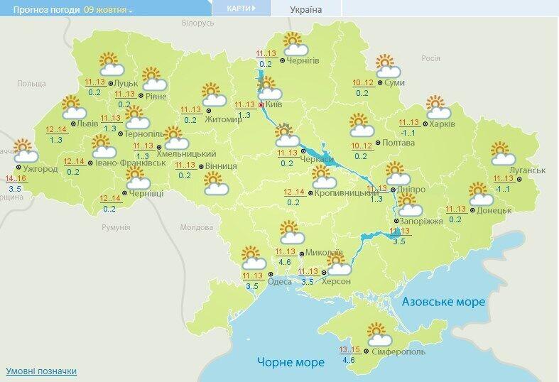 Прогноз погоды в Украине на 9 октября.