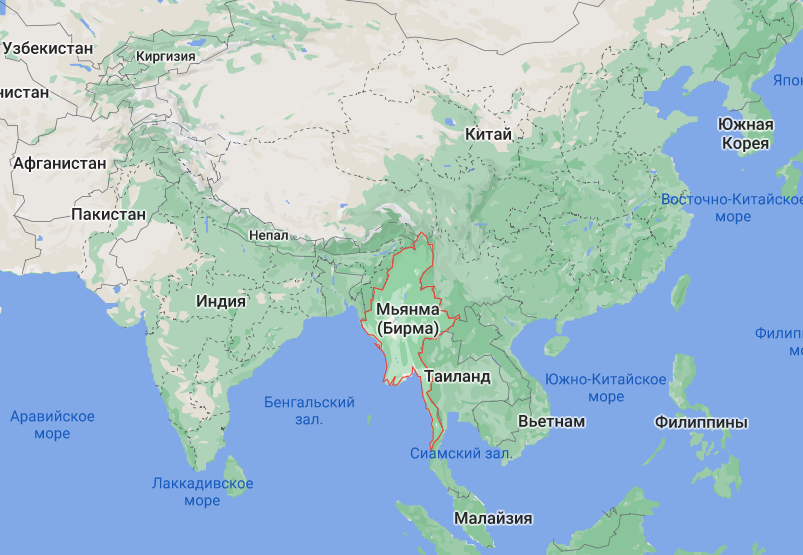 М'янма на карті світу.