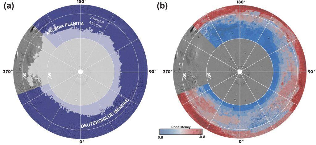 Карта розподілу льоду під поверхнею північної півкулі Марса