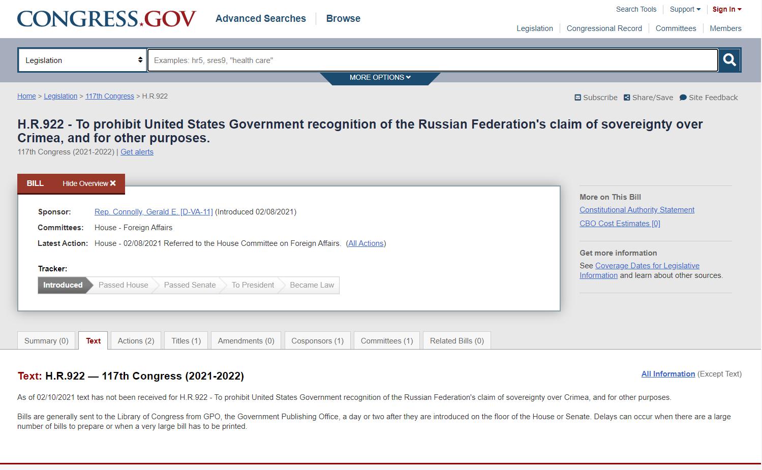 Скріншот з сайту Конгресу США
