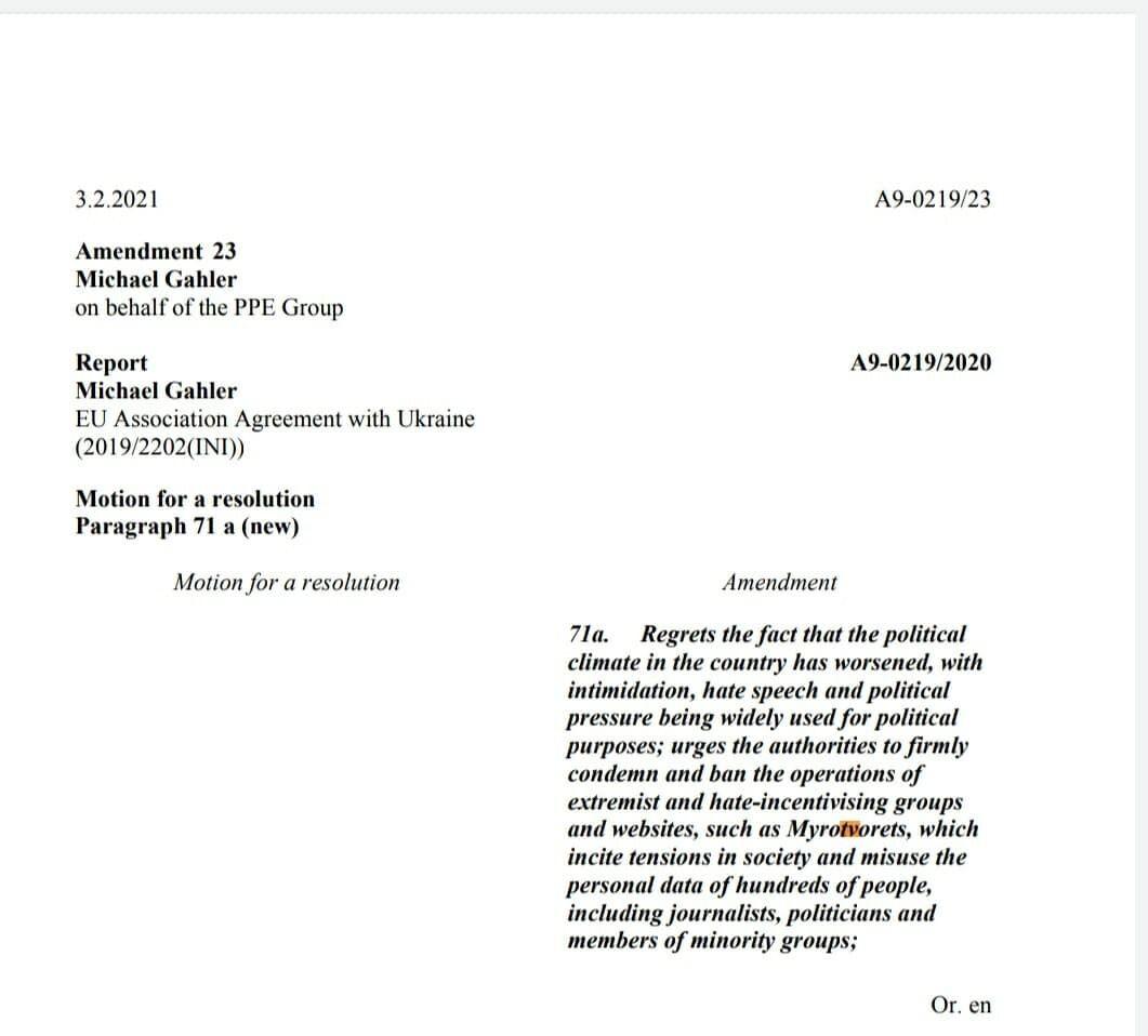 Автором поправки до резолюції став Міхаель Галер.
