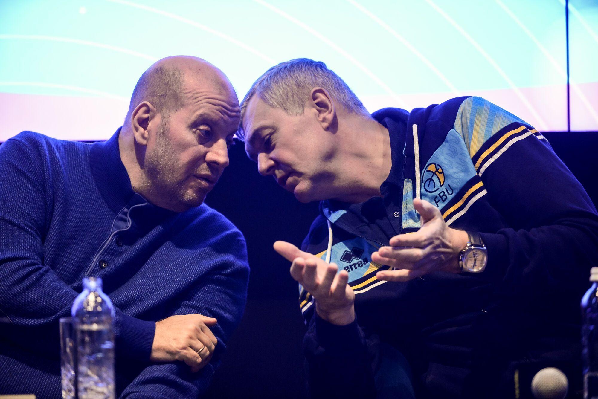 Михаил Бродский и тренер сборной Украины Айнарс Багатскис.