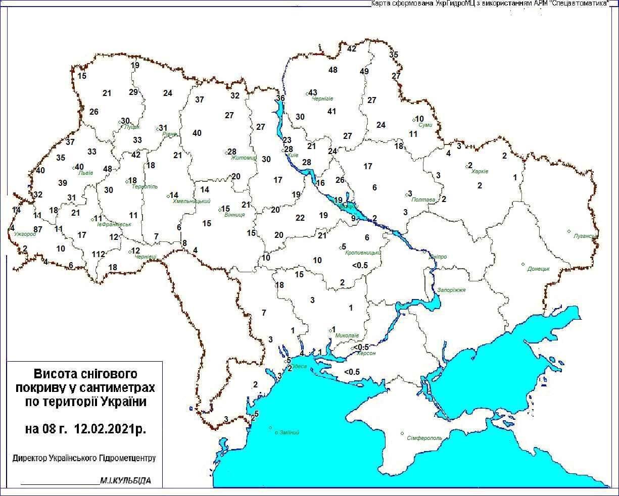 Высота снежного покрова в Украине на утро 12 февраля