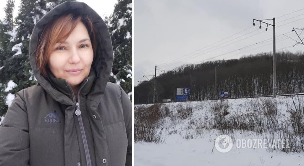 Марина Лінник і місце, де вона знайшла потерпілого чоловіка