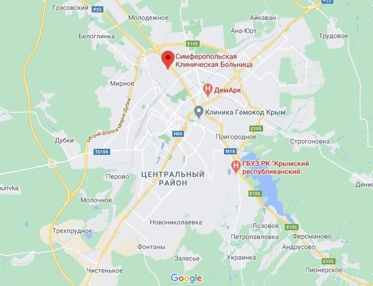 Расположение Симферопольской клинической больницы.