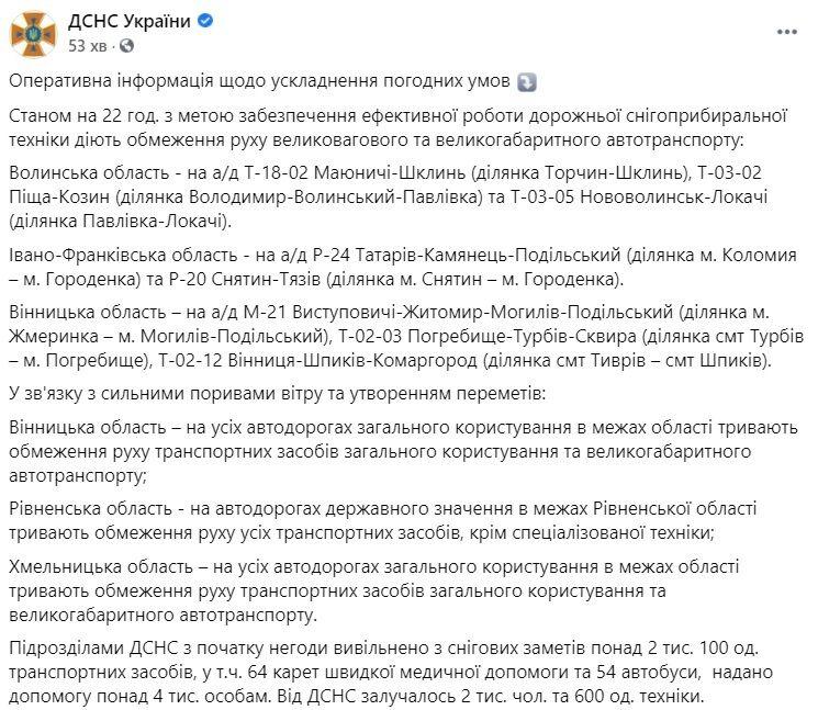Оперативна інформація щодо ситуації на дорогах України 13 лютого