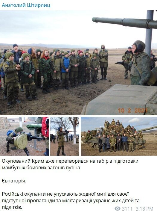 Публікація офіцера ЗСУ про мілітаризацію дітей Криму