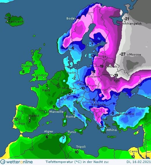 В ночь на 16 февраля в Украине ударят морозы до -22