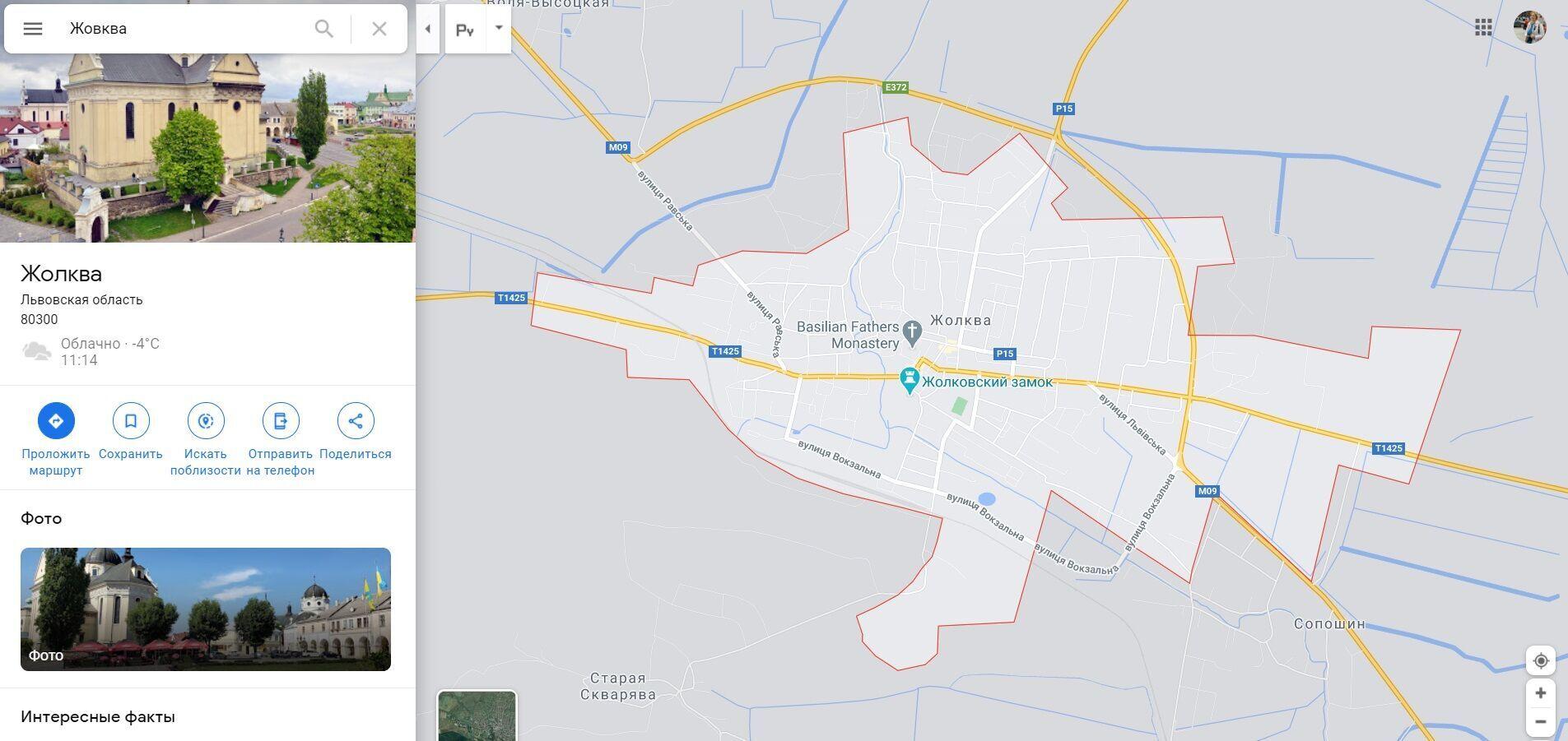 Жовква на карте