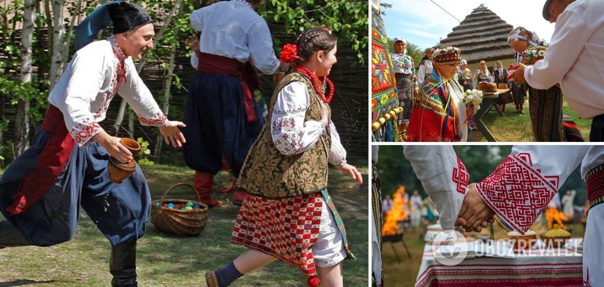 Кадры из воспроизведения украинцами традиционной свадьбы