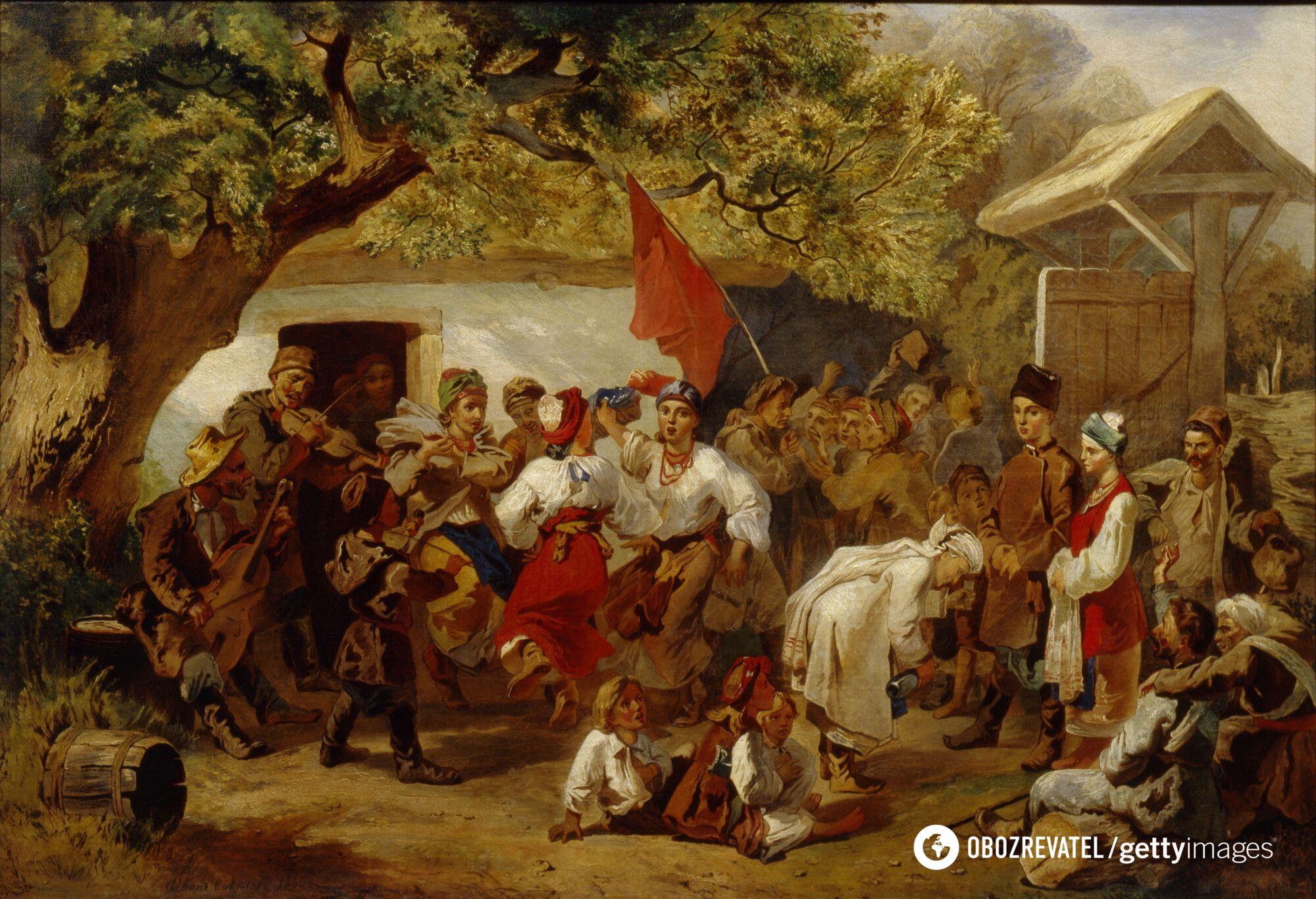 Свадебный пир, 1860 год. Картина художника Ивана Соколова