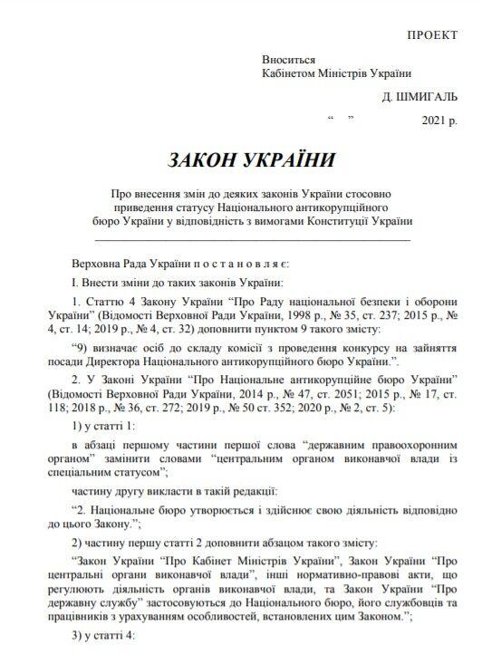 ЗМІ опублікували текст законопроекту.