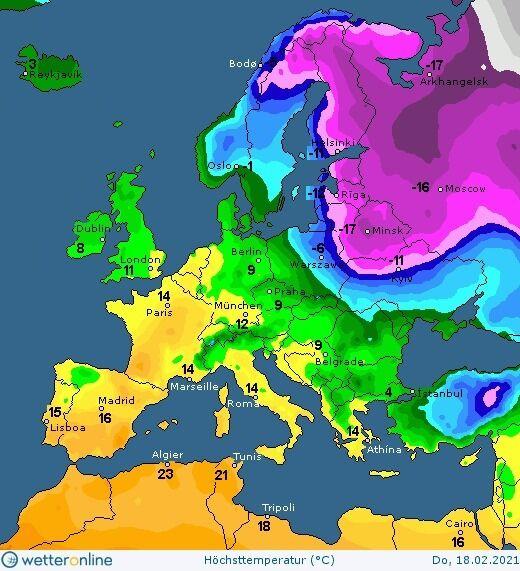 Карта погоды в Украине на 18 февраля.