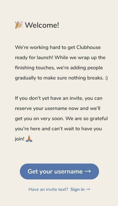 Стартовий екран додатка Clubhouse