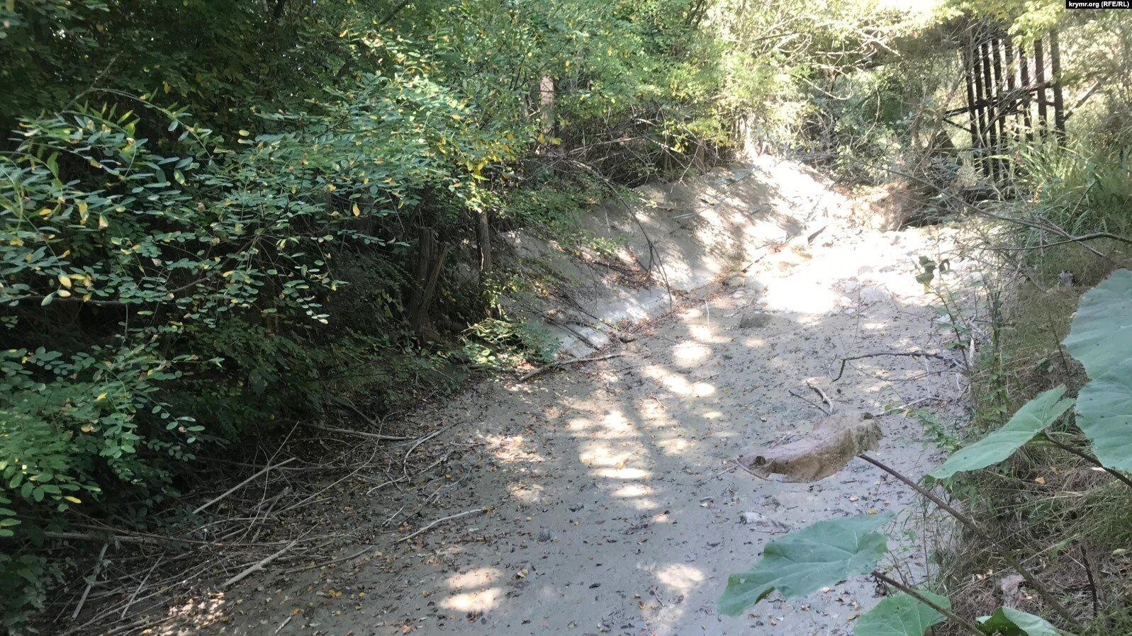 Высохшее русло реки Танасу у села Кирпичное Белогорского района, сентябрь 2020 года