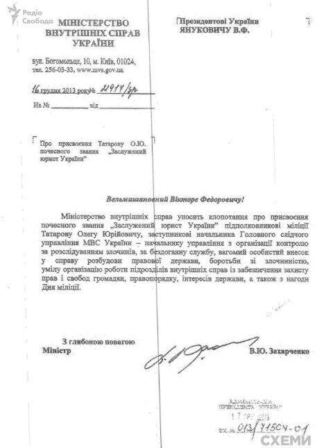 Представление по Татарову.