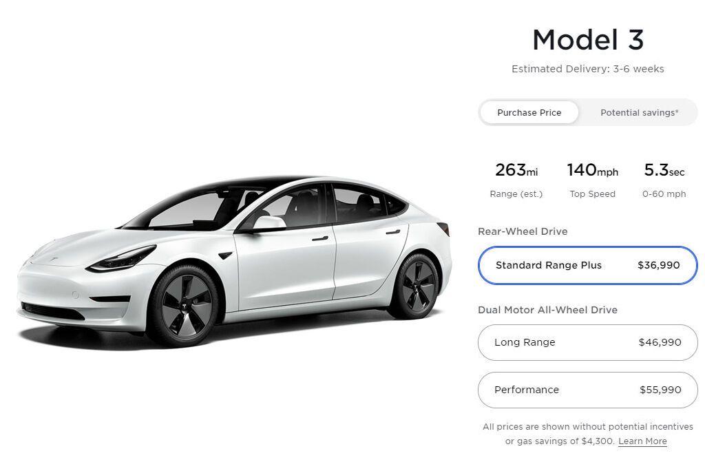 За Model 3 RWD Standard Range Plus просят на тысячу долларов меньше, чем ранее, а цена стартует с $36 990